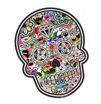 Mexican Day Of The Dead SUGAR SKULL With JDM Style Multi Colour Stickerbomb Motif External Vinyl Car Sticker 120x90mm
